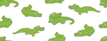 Seamless Pattern With Crocodil...