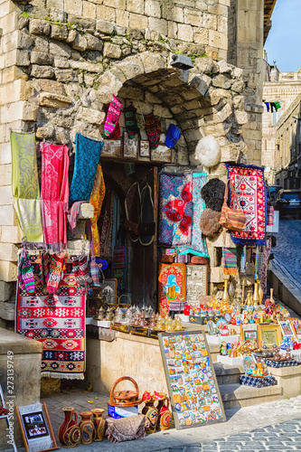 Poster Maroc Icheri Sheher (Old Town) of Baku, Azerbaijan. Typical tourist shop with souvenirs and antiques.