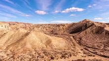 Spectacular Landscape Panorama Of Rainbow Basin National Landmark. California, USA.