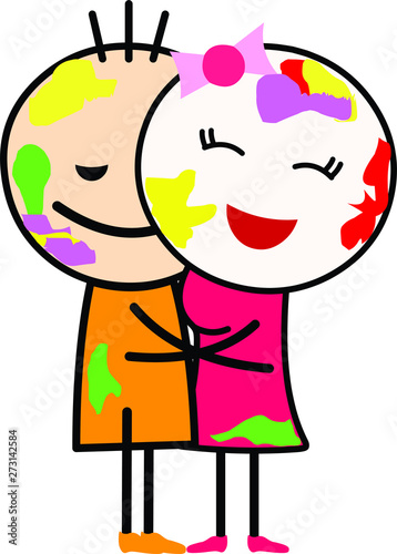 Vector Illustration Of A Cartoon Love Couple Boy And Girl Hugging And Playing With Colors Celebrating Indian Festival Holi Stock Vector Adobe Stock