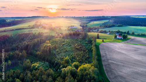 Keuken foto achterwand Lavendel country side landscape at sunset time, nature background