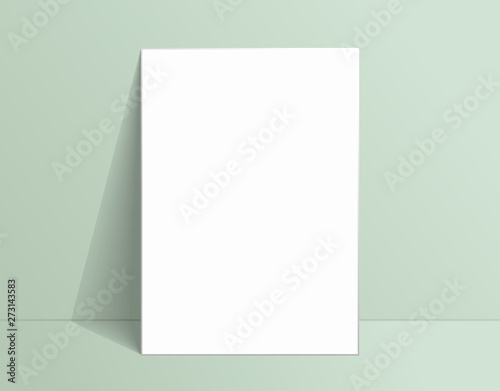Fotografía  White poster mockup standing on the floor near Living coral color wall