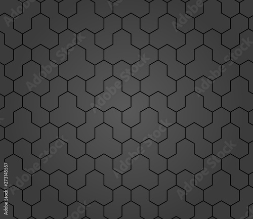 Geometric abstract vector hexagonal background. Geometric modern dark ornament. Seamless modern pattern Wall mural