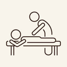 Massage Line Icon. Therapist Massaging Patients Back. Health Care Concept. Vector Illustration Can Be Used For Topics Like Spa Salon, Relax, Physiotherapy