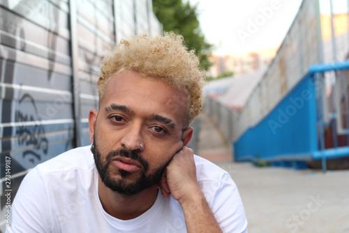 Tableau sur Toile African American man looking bored