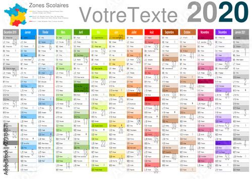 Calendrier 2020 Et 2020 Avec Vacances Scolaires.Calendrier 2020 A3 14 Mois Avec Vacances Scolaires