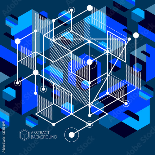 Vector of modern abstract cubic lattice lines blue black background