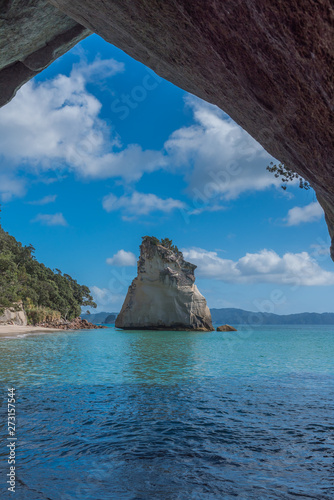 Spoed Foto op Canvas Cathedral Cove Cathedral Cove, Coromandel Peninsula, North Island, New Zealand. Vertical.