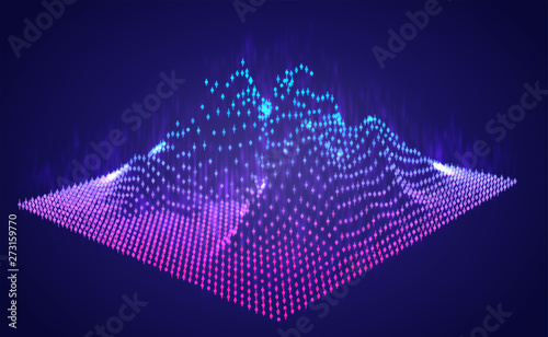 Cadres-photo bureau Violet Vector abstract info graphic in the form of a mountain. bright glowing design element.