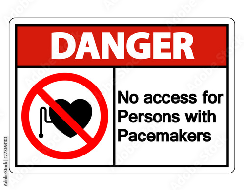 Danger No Access For Persons With Pacemaker Symbol Sign Isolate On White Background,Vector Illustration Wall mural