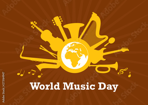 Photo  World Music Day with musical instruments vector
