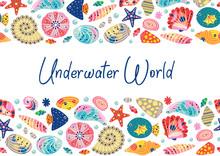 Underwater World Horizontal Banner  - Vector Illustration, Eps