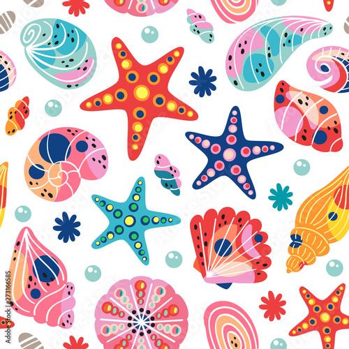 Photo white seamless pattern with seashells - vector illustration, eps
