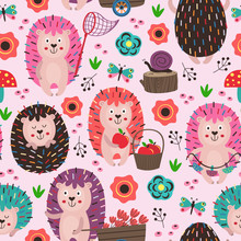 Pink Seamless Pattern With Col...