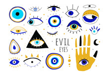 Evil Eyes. Set Of Hand Drawn Various Talismans. Different Shapes. Flat Design. Free Hand Drawing Style. Contemporary Modern Trendy Vector Illustration. All Elements Are Isolated