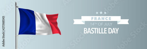 Photo France happy Bastille day greeting card, banner vector illustration