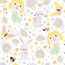 Seamless Pattern With Little Girls Playing