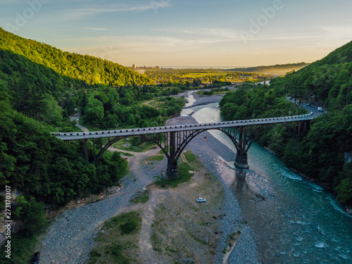 Aerial view of stone bridge over gorge of river Gumista, Abkhazia Wallpaper Mural