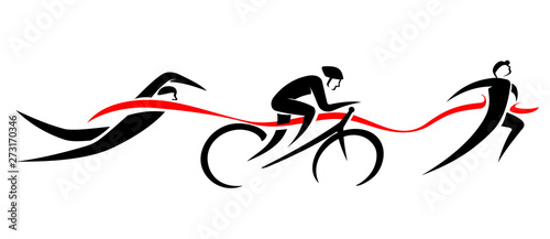 Triathlon Event, Swim Bike Run Abstract Wallpaper Mural