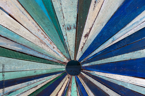Multi color of old grunge wood panel as radial shape background Canvas Print