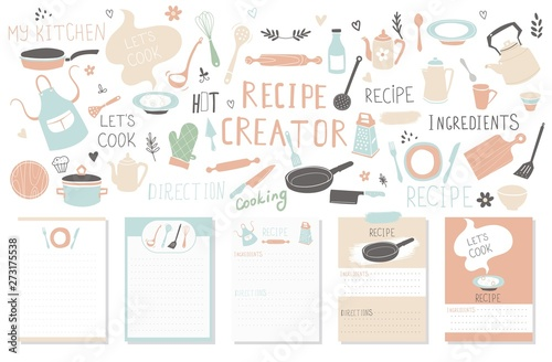 Fototapeta Modern Recipe card template set for cookbook. Menu Creator Vector Illustration. obraz