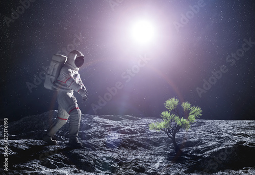Fototapeta Astronaut exploring an alien planet. Green plant growing