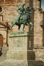 The Pizarro Statue Made In Bronze At The Plaza Mayor Of Trujillo