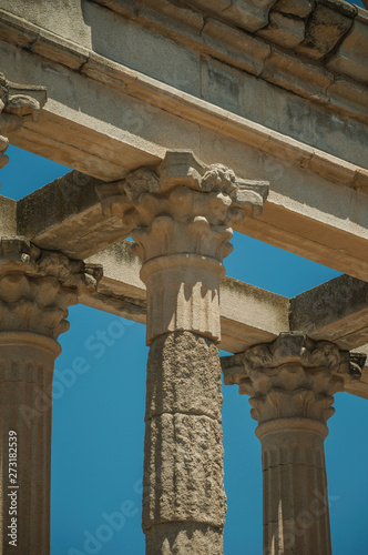 Marble columns and architrave in the Temple of Diana at Merida Canvas Print