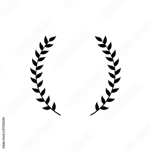 Photo  Circle frame from black silhouette of two laurel branches in flat style