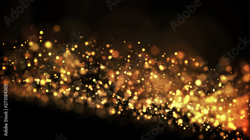 Fototapeta gold particles glisten in the air, gold sparkles in a viscous fluid have the effect of advection with depth of field and bokeh. 3d render. cloud of particles. 126 obraz na płótnie
