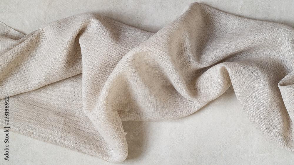 Fototapety, obrazy: Piece of fine linen on a gray background