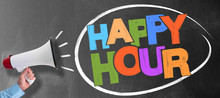 Hand Of Man Holding Megaphone Or Bullhorn Against Blackboard With Colorful Words HAPPY HOUR