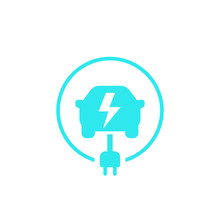 Electric Car, Ev Charging Station Vector Icon On White