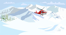 Alpine Rescue Service Flat Vec...