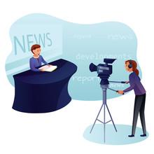 News Program Recording Flat Vector Illustration