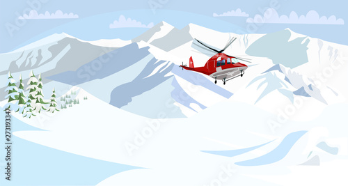Poster Militaire Alpine rescue service flat vector illustration
