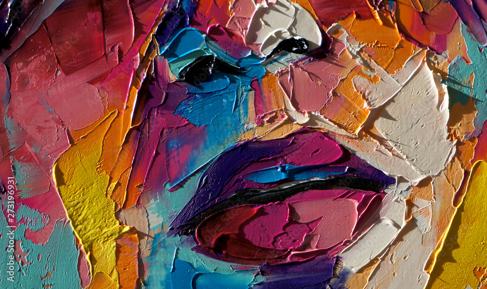 """""""Louise"""" - oil painting. Conceptual abstract picture of a beautiful girl. On the background is written text from a book. Conceptual abstract closeup of an oil painting and palette knife on canvas."""