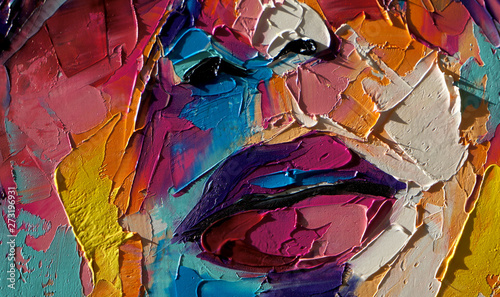 """Louise"" - oil painting. Conceptual abstract picture of a beautiful girl. On the background is written text from a book. Conceptual abstract closeup of an oil painting and palette knife on canvas. - 273196931"