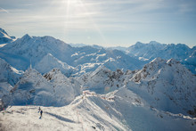 Ready To Take The Plunge Down A Black Ski Run In The Alps