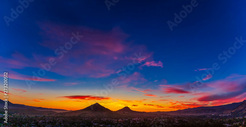 Panorama of Silhouetted Mountains at Sunset