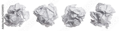Photo Set of crumpled paper balls, isolated on white background