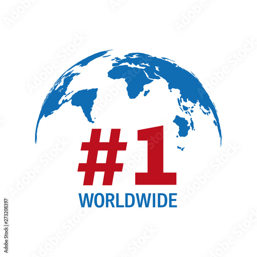 Fotografia  Worldwide number one blue and red vector sign