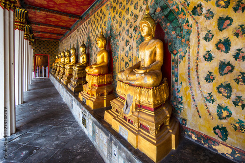 Buddha statues at Wat Arun - Temple of Dawn is a Buddhist temple (wat) in Bangkok central district of Bangkok, Thailand