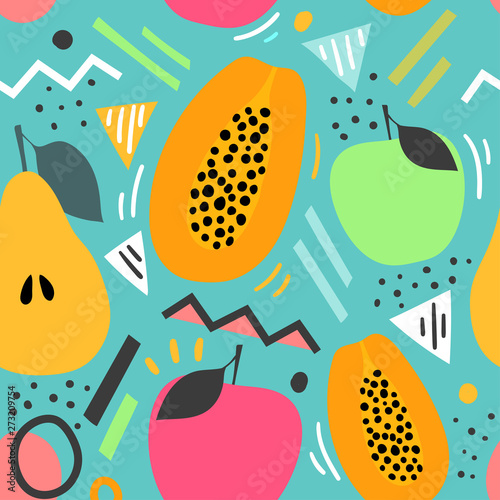 Decorative fruits seamless pattern for print, textile, fabric. Modern background with abstract illustration. - 273209754