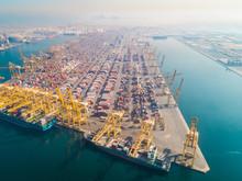 Aerial View Of Cargo Port Full...
