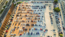 Aerial View Of A Crowded Parking In Dubai, United Arab Emirates.