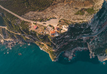 Aerial View Of Mar Semaan Church On The Edge Of The Cliff In Batroun In Lebanon.