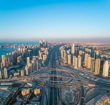 Aerial View Of Highway Intersection And Skyscrapers In Dubai