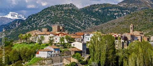 Panoramic view of Binies village in Aragon region of Spanish Pyrenees.
