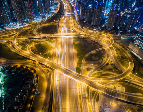 Aerial view of the traffic at night in Dubai, U.A.E. Canvas Print